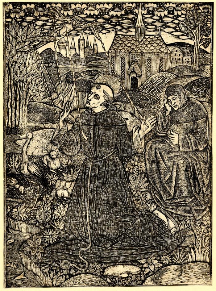St Francis metalcut
